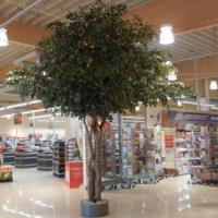 Innenbegrünung eines Einkaufzentrum mit einem grossen Camelie Kunstbaum.