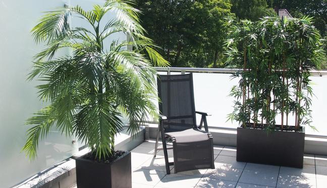 Terrassengestaltung mit wetterfesten Kunstpflanzen und künstlicher Hecke.