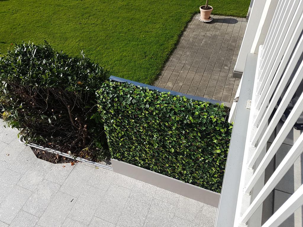 Künstliche Efeu Hecke im Garten als Sichtschutz zu den Nachbarn.