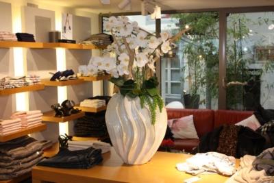 Innenbegrünung einer boutique mit künstlichen Orchideen.