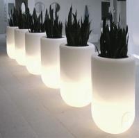 Leuchtende Töpfe mit Kunstpflanzen als Innendekoration.