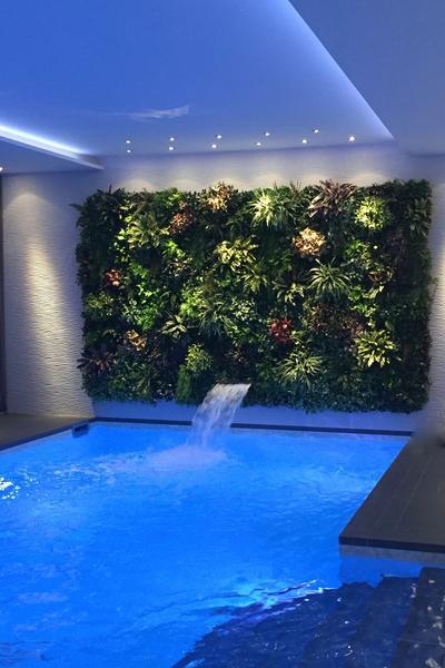 Swimmingpool und eine Wand mit Kunstpflanzen.