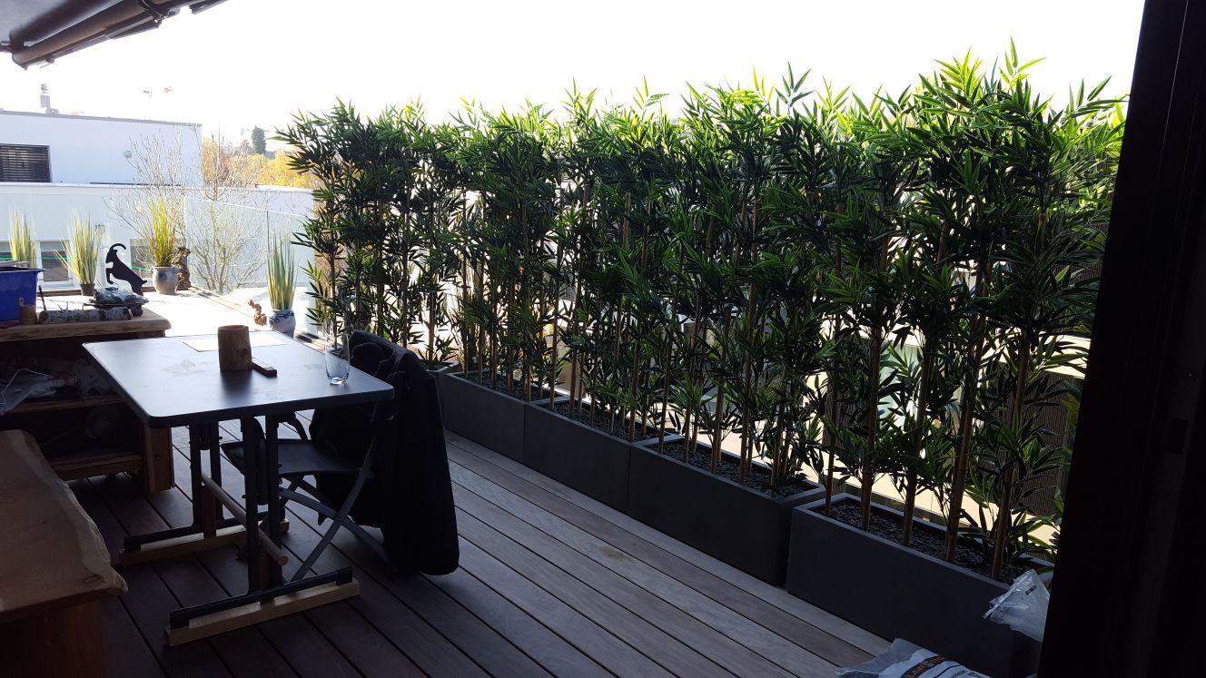 Moderne Terrassengestaltung mit künstlichen Bambus Hecken im Kübel.