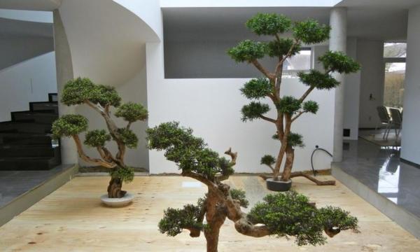Begrünung Innen mit künstlichen Bonsai Bäume.