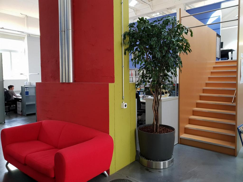 Bürobegrünung in Zürich innen mit Kunstbaum in Pflanzgefäss.